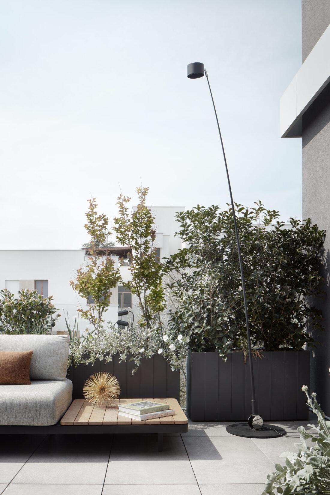 outdoor modern floor lamp in a penthouse terrace